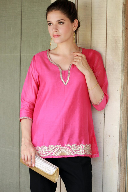 Elegant Bright Pink Tunic in a Cotton and Silk Blend 'Jaipuri Masala'