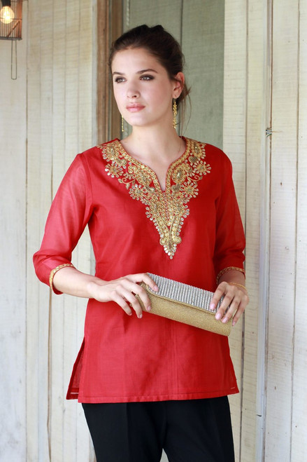 Embellished Red Cotton and Silk Tunic with Embroidery 'Jaipuri Romance'