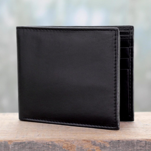 Men's Black Leather Wallet with Traditional Styling 'Bengal Black'