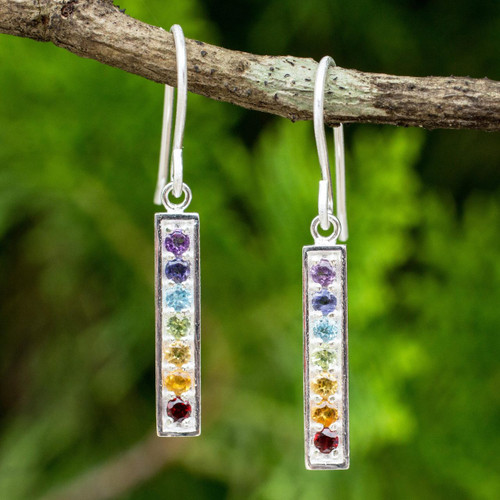 Multi Gemstones on Sterling Silver Bar Chakra Earrings 'Chakra Honor'