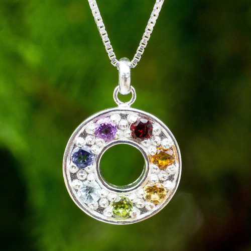 Artisan Crafted Silver and Gemstone Chakra Pendant Necklace 'Chakra Honor Wheel'