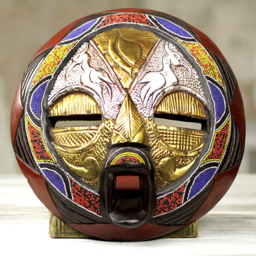 Bead and Brass Repousse African Wall Mask with Animal Motifs 'Promise of Prosperity'