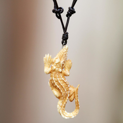 Carved Bone Alligator Pendant Necklace on Leather Cord 'Alligator'