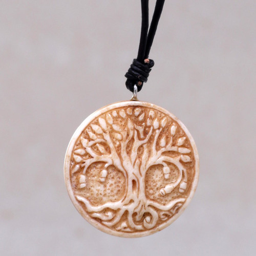 Leather Cord Necklace with Bone Tree of Life Pendant 'Sacred Tree'