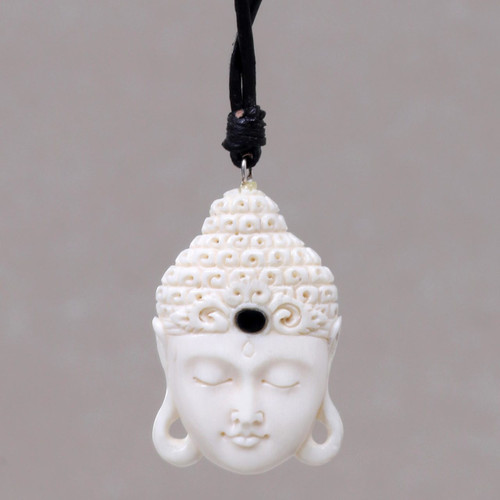 Buddha Head Cow Bone Pendant on Adjustable Leather Cord 'White Buddha Head'