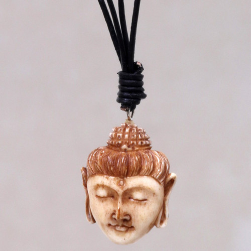 Buddha Head Necklace in Carved Cow Bone and Leather 'Buddha Head II'