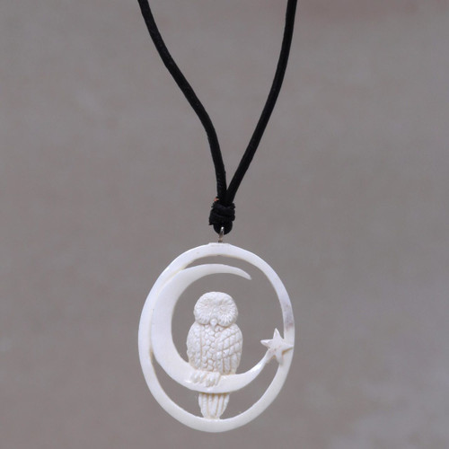 Owl and Moon Bone Pendant Necklace Handmade in Bali 'Magic Night'