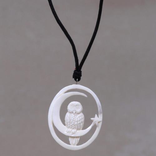 Owl and Moon Bone Pendant Necklace Handmade in Bali 'Magic Night'