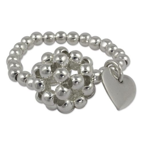 Women's Silver Cluster Ring with a Heart Charm 'Heart Constellation'