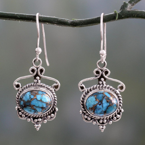 Blue Composite Turquoise and Sterling Silver Dangle Earrings 'Oceans of Love'