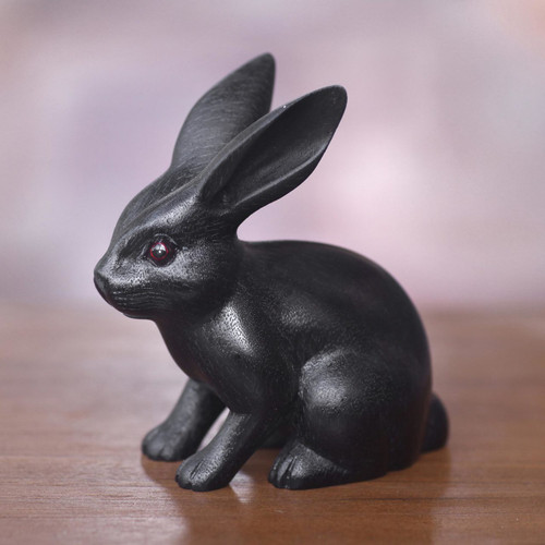 Adorable Black Bunny Sculpture Hand Carved in Suar Wood 'Cute Black Rabbit'