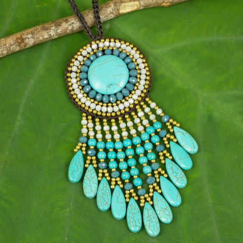 Blue Bohemian Style Beaded Necklace from Thailand 'Blue Waterfall Sun'
