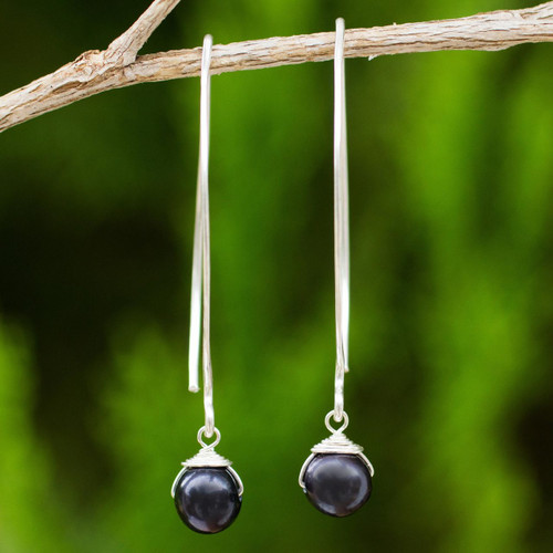 Dangle Earrings with Black Cultured Freshwater Pearls 'Simple Glamour'