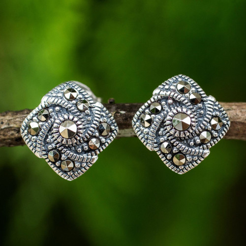 Modern Style 925 Sterling Silver Earrings with Marcasite 'Starlight Pinwheels'
