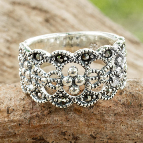 Classic Thai Style Marcasite on Sterling Silver Band Ring 'Antique Contempo'