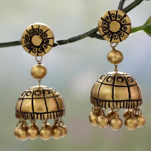 Handmade Ceramic Chakra Earrings in Gold Color 'Golden Chakra'