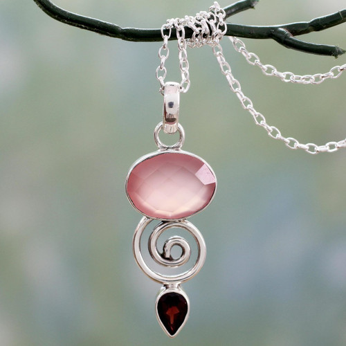 Indian Silver Necklace with Pink Chalcedony and Garnet 'Romantic Journey'