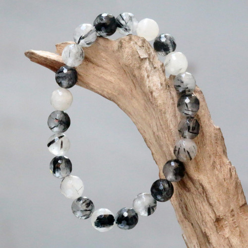Artisan Crafted Beaded Bracelet with Tourmalinated Quartz 'Sanur Storm'