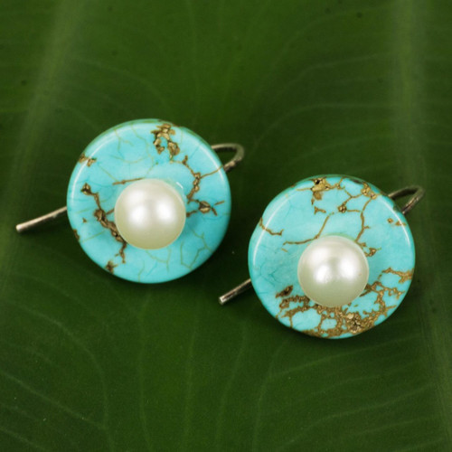 Turquoise Color Calcite Earrings with Cultured Pearls 'Bohemian Moon'