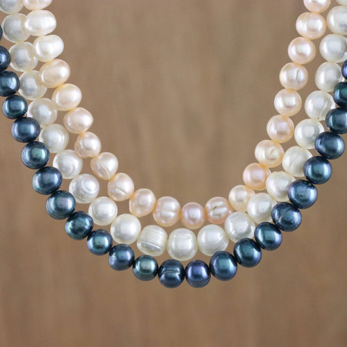 Three Strand Cultured Pearl Necklace from Thailand 'Pastel Halo'