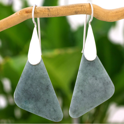 Modern Handcrafted Apple Green Jade Earrings from Guatemala 'Contemporary Contours'