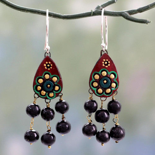 Fair Trade Ceramic Earrings on Sterling Silver Hooks 'Bollywood Dream'