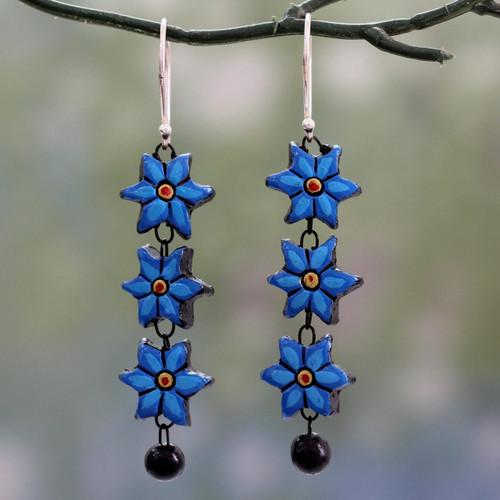 Long Floral Dangle Earrings Handmade from Ceramic 'Daffodils'