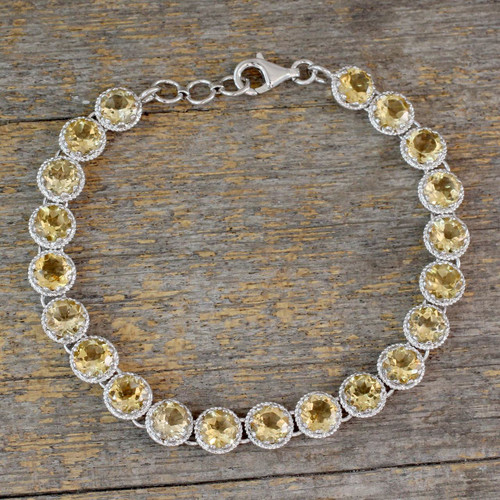 Tennis Bracelet Set with 21 Carats of Citrine Gemstones 'Golden Enchantment'