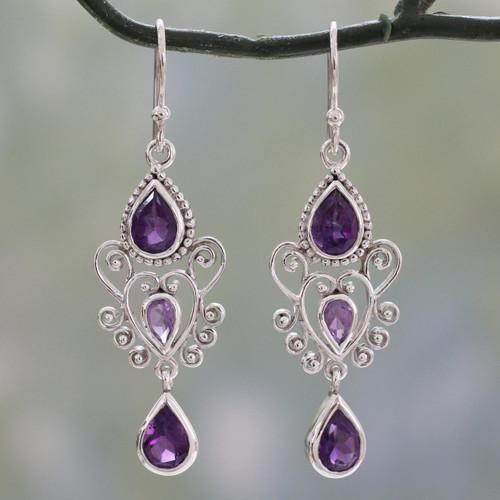 Amethyst Birthstone Dangle Earrings in Sterling Silver 'Enchanted Princess'