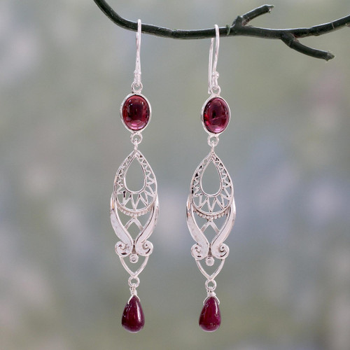 Long Ruby and Garnet Earrings in Sterling Silver from India 'Mughal Mystery'