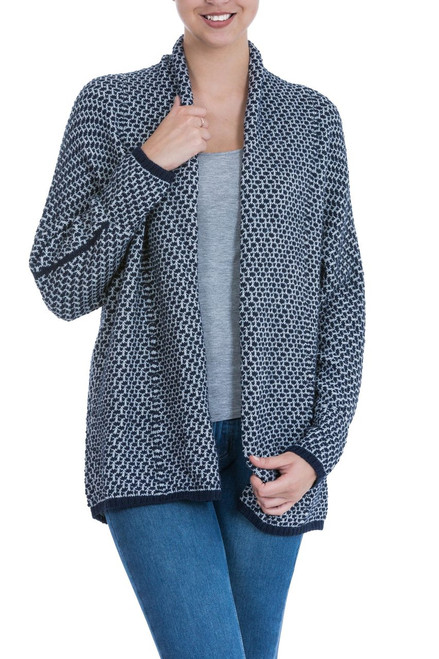 Open Alpaca Blend Long Sleeve Cardigan in Navy Blue and Grey 'Ocean Warmth'