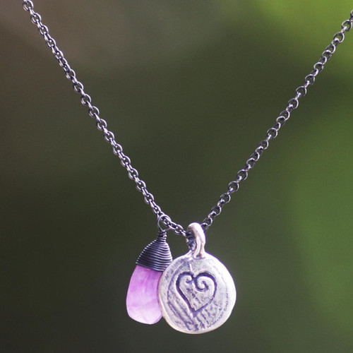 Amethyst and 925 Sterling Silver Necklace Heart Jewelry 'Inspiring Heart'