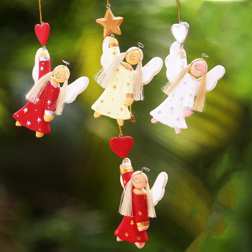 Artisan Crafted Set of 4 Wood Angel Ornaments from Bali 'Dream Angels'