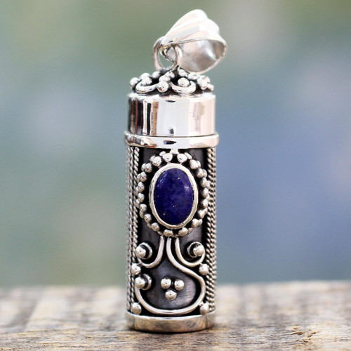 Hand Crafted Sterling Silver and Lapis Prayer Box Pendant 'Calmness'