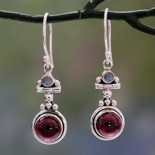 Garnet and Rainbow Moonstone Earrings Set in 925 Silver 'Misty Moon'