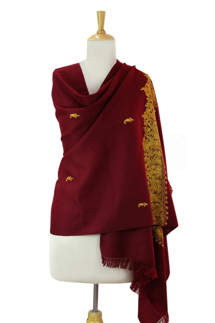 Wine Red Wool Shawl with Golden Embroidery from india 'Magnificent Wine'