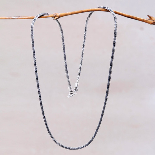 Artisan Crafted Sterling Silver Naga Chain Necklace 'Naga Tradition II'