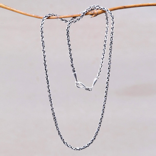 Sterling Silver 925 Wheat Chain Necklace from Bali 'Ancient Wheat'