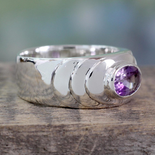 Polished Sterling Silver Band Ring with 1.5 Carat Amethyst 'Purple Splash'