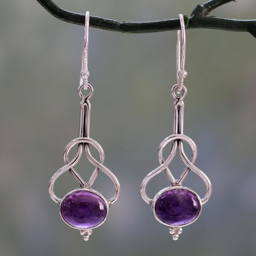 Dangle Earrings with Amethyst Cabochons in Sterling Silver 'Wisdom Path'