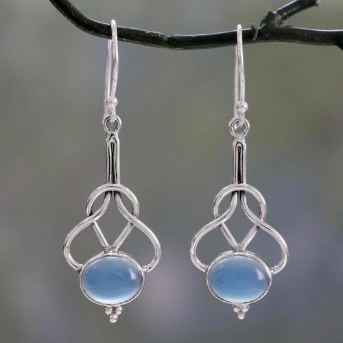 Light Blue Chalcedony Dangle Earrings in Silver 925 Settings 'Positive Path'