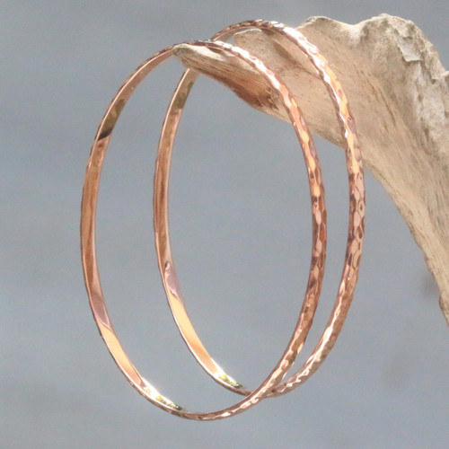 Women's Gold Plated Silver Bangle Bracelets from Bali (Pair) ''Rose Gold Mosaic''