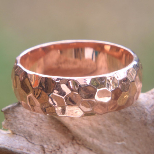 Textured 18k Rose Gold Plated Sterling Silver Band Ring 'Rose Mosaic'
