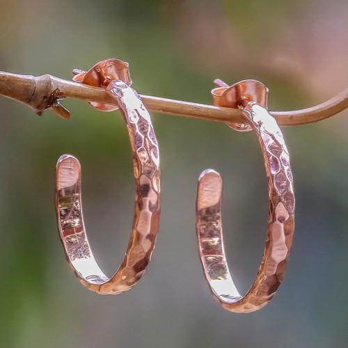 18k Rose Gold Plated Sterling Silver Half Hoop Earrings 'Mosaic in Rose'