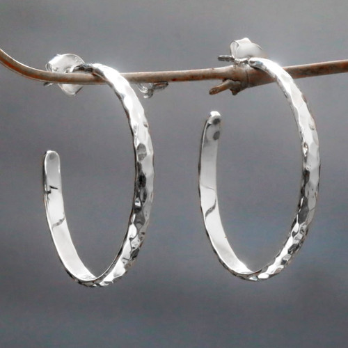Hand Crafted Sterling Silver Half Hoop Earrings from Bali 'Mosaic in Sterling'