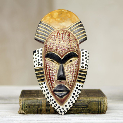 Hand Carved West African Wood Wall Mask from Ghana 'Ghana's Happiness'