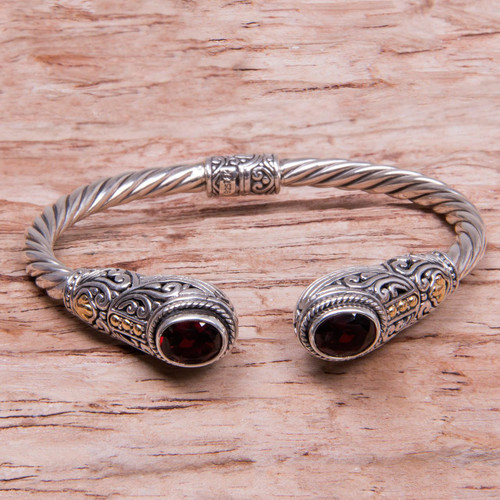 Handmade Balinese Garnet Cuff Bracelet 'Gelgel Empress'