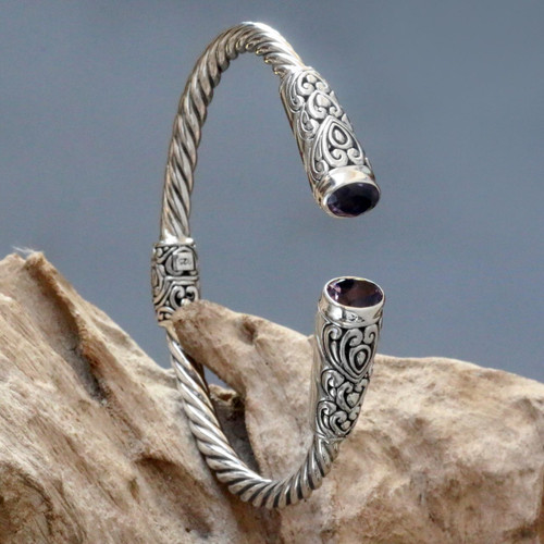 Sterling Silver Cuff Bracelet with Hearts and Amethysts 'Totem Hearts'