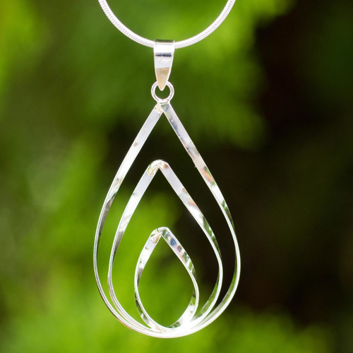 Polished Sterling 925 Fair Trade Pendant Necklace 'Lotus Flame'