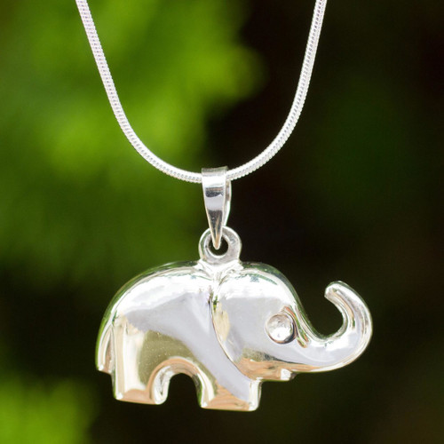 Thai Sterling Silver Handcrafted Elephant Pendant Necklace 'Petite Pachyderm'